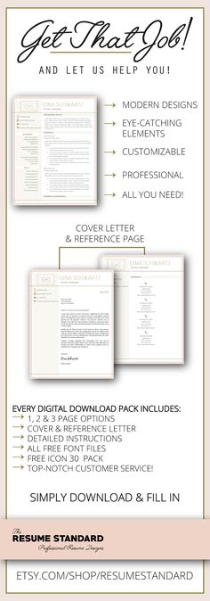 Creative Resume Template for Word and Pages 1, 2 and 3 Page - resume template fill in