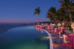 Secrets Marquis Los Cabos - A dramatic setting is created with a special event set up next to the infinity pool.