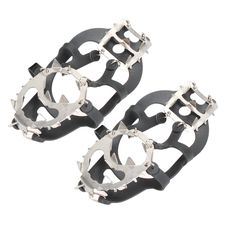 TTnight Winter Crampons 18 Teeth Anti Slip Ice Cleats Gripper Shoe Chain Spike for Snow Lite Duty Serious Traction Cleats. Ultra light and highly elastic, Stretch-on traction footgear for ice and snow. Ground-gripping steel studs. Available in sizes from 3-13 US size. Easy on/off to fit boots, sneakers, casual and dress shoes-- Wrap the front around your toe section, then stretch the back around your heel. Application scenarios?hiking angled terrain, icy roads, ice driveway, dangerous...