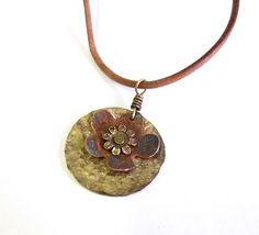 Patina copper floral necklace  copper patina by agatechristina, $19.00