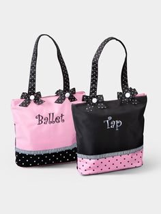 """One Bag! Two Looks! This delightful micro fiber bag features a Ballet theme on one side and Tap theme on the other side! """"Ballet"""" and """"Tap"""" are embroidered. Striped ribbon sets off the polka-dot base of the bag. Ballet Bag, Ballet Shoes, Ballet Clothes, Tap Dance, Dance Wear, Dance Gifts, Costume, One Bag, Dance Outfits"""