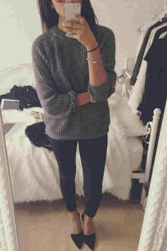 Comfy grey pullover with black cropped pants, or leggings, and cute pointed black heels or flats.