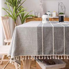 J-MOOSE Coutures Nappe Coton et Lin prot/ég/é Contre la poussi/ère Tissu de Table /à Manger Housse pour Table pour Table de Salle /à Manger de Cuisine D/écoration 140x180cm, Light Brown