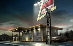 vintage gas stations | Jim Martin Concept Art: Old Gas Station