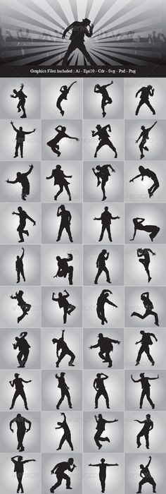 Hip Hop Dancer Silhouettes  #graphicriver love!!!!!