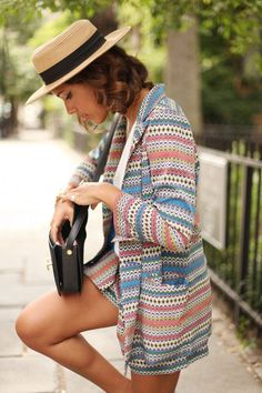 textured  and fun colored blazer that could transition fall, spring, summer