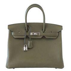 HERMES BIRKIN 35 Bag VERT VERONESE rare FJORD leather Palladium