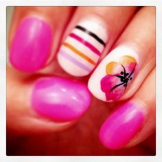 #belladonna #fingers #finger #nails #nailart #naildesigns #neon #pink #flower #flowers #stripes #nicole