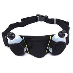 OURBAG Sports Jogging Walking Hydration Belt Waist Fanny Pack Water 2 Bottle Black *** To view further for this item, visit the image link.