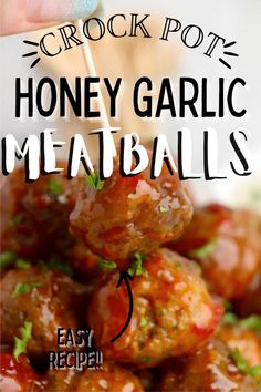 Crock Pot Honey Garlic Meatballs are packed with flavor and are easy to make! Appetizer or main course, they are delicious! #slowcookermeatballs #crockpotmeatballs Honey And Soy Sauce, Honey Garlic Sauce, Garlic Meatball Recipe, Slow Cooker Recipes, Crockpot Recipes, Crock Pot Meatballs, Incredible Recipes, Barbecue Recipes, Pinterest Recipes