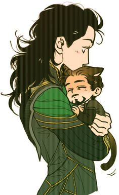 """We understand each other. And he's so much more manageable this way."" < I just died of cuteness. I don't ship Tony and Loki but this is too cute and I love Loki's hair!"