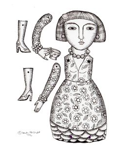 Color your own Digital download diy papercraft  paper doll  cake topper plant pot decoration coloring page teacup lady by kittyjujube on Etsy