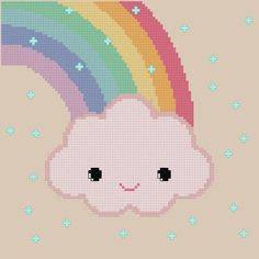 Kawaii rainbow cloud X-stitch Kawaii Cross Stitch, Cute Cross Stitch, Cross Stitch Designs, Cross Stitch Patterns, Diy Embroidery, Cross Stitch Embroidery, Embroidery Patterns, 8bit Art, Perler Patterns