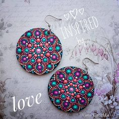 Very light and positive hand painted 3D mandala earrings 27$  with free shipping worldwide Mandala Fairy   Фея мандал (@yana_kaechka) #mandalartKaechka #hippiejewelry #mandalajewelry #boho