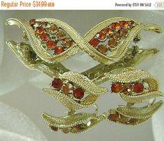 SPRING SALE Vintage Coro Amber Glass Rhinestone Vintage by waalaa