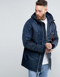 Alpha Industries – – Schmal geschnittener Parka in Marineblau Winter Coats, Winter Jackets, Alpha Industries, Asos, Parka, Raincoat, Fashion, Rain Jacket, Moda