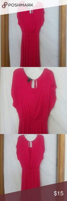 "Delirious women size large tunic sundress cover-up Barely worn, ties at the back of the neck, elastic below the chest, short sleeve, hi/lo, hot pink, rayon and spandex, chest 44"", length 37"" in front and 42"" in back Delirious Dresses"
