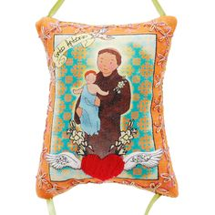 Mini almofada Santo Antônio. Da coleção Santo Jovem.