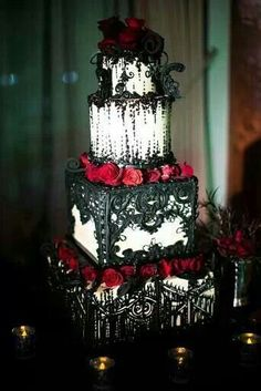 OMG IT'S GORGEOUS!!!!#Gothic #Wedding White Wedding Cake with Black Lace and Red Rose Detailing