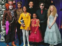 President Obama, Michelle Obama, Malia Obama, Sasha Obama, Johnny Depp, Tim Burton & Mia Wasikowska from Stars Meet the President