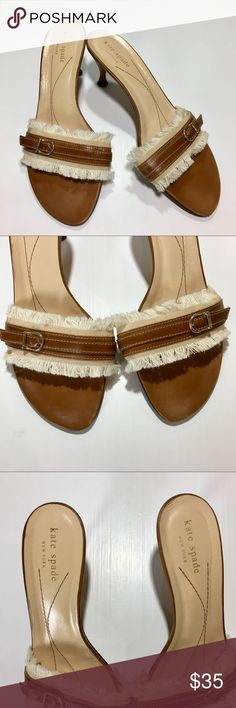Kate Spade Leather Fringe Sandals ✔️Size 8 (run small...probably fit 7.5 best) ✔️Fringe Detail ✔️Kitten Heel ✔️Leather kate spade Shoes