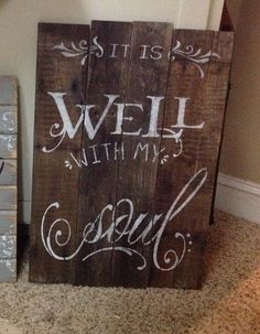 Wood pallet sign It Is Well With My Soul sign wall by HiggiHouse