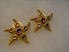 Signed JJ Aquatic Starfish Earrings Figural Multicolor Rhinestones Pierced  #JJ #pierced