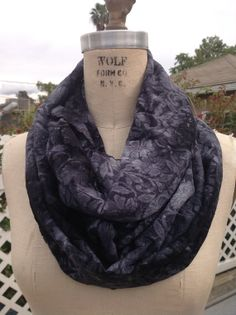 Grey tie dye lace infinity scarf on Etsy.       Awesome scarf