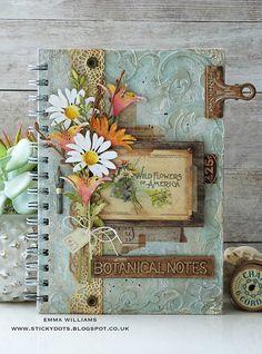 Botanical Notes Altered Notebook Encore by Emma Williams - Simon Says Stamp Blog Simon Says Stamp Blog, Handmade Journals, Handmade Books, Handmade Crafts, Handmade Headbands, Handmade Rugs, Handmade Notebook, Handmade Bracelets, Diy Crafts