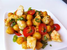 Home Cookin'- Cumin Roasted Chicpea and Shrimp salad w/ tomato, basil and scallions