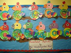 Preschool and Kindergarten rainforest and zoo bulletin board craft Idea