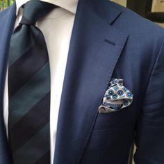 Viola Milano handrolled block stripe tie & handprinted silk pocket square…