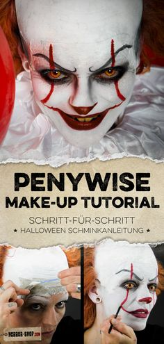 Pennywise step-by-step make-up instructions & video make-up tutorial! - Pennywise step-by-step make-up instructions & video make-up tutorial! Pretty Halloween, Fete Halloween, Halloween 2019, Halloween Make Up, Halloween Costumes, Makeup Tricks, Halloween Zombie Makeup, Es Pennywise, Carnival