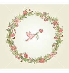 Wreath of pink flowers leaves and bird vector - by Artspace on VectorStock®