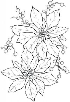 Poinsettia Line Art - Christmas - The Graphics Fairy