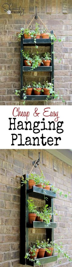 All you need is an hour and about $20 to make this super cute wooden shelf planter. Supplies include some cut pieces of pine (a lumberyard will cut your wood for free if you bring measurements), paint, nails, wood glue, small clay pots, and a bit of rope to create this adorable hanging planter for indoor garden freshness!