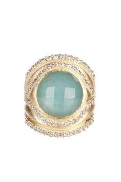Rivka Friedman 18K Gold Clad Round Carribean Blue Quartzite & Graduated CZ Dome Ring