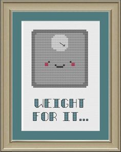 Weight for it funny scale crossstitch by nerdylittlestitcher, $3.00