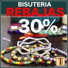 Complementa tu look al mejor precio!!  Collares, pendientes, anillos y pulseras con un 30% de descuento. #nosvamosderebajas #vayaprecios #torodescuentos