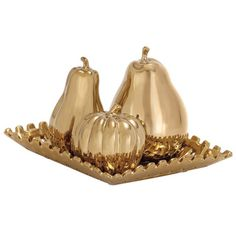 Casa Cortes Gold Ceramic Fruit Centerpiece Plate - Overstock™ Shopping - Great Deals on Casa Cortes Kitchen Decor