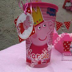 Fiesta de Peppa Pig, La cerdita, vaso decorado para dulcero