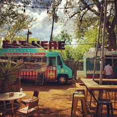 Beer garden with daily food truck service