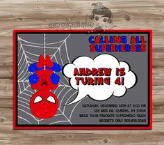 SPIDERMAN Birthday Invitation Spiderman Birthday by SewKawaiiKids