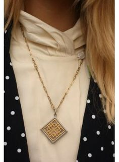 Bohemian Rose Vintage 1970's Gold and Silver Cut Out Diamond Necklace. Buy @ http://thehubmarketplace.com/1970's-Gold-Silver-Cut-Out-Diamond-Necklace
