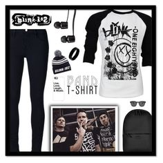 """Blink-182-Band T-shirt"" by majezy ❤ liked on Polyvore featuring Vans, Rains, Retrò, Ahlem, Frame Denim, Blink, West Coast Jewelry and Casetify"