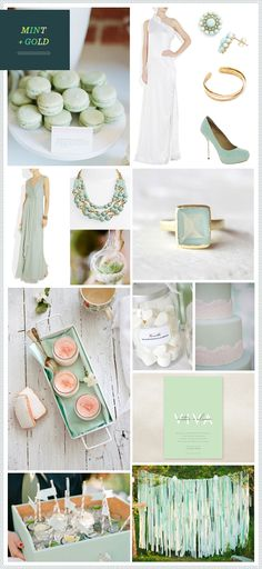 Modern Mint + Gold wedding inspiration, love the backdrop idea with the hanging strips of fabric