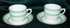 "Pair of Vintage British Anchor Cottage Green Pattern Pottery Cups & Saucers (10/09/2013) Height cups : 2.5"" (6.5cm), Diameter saucers : 5.25"" (13.5cm)"