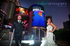 dress, themed, Vegas wedding, Las Vegas strip, exceed, bride and groom, creative photos, planet Hollywood