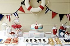 navy blue red white nautical themed first birthday party complete dessert table