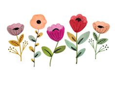 yvettedrakeslowly - 0 results for watercolor flowers Folk Art Flowers, Vintage Flowers, Flower Art, Art Et Illustration, Floral Illustrations, Art Floral, Flower Graphic, Floral Wall, Watercolor Flowers